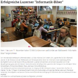 """Erfolgreiche Luzerner """"Informatik-Biber"""""""
